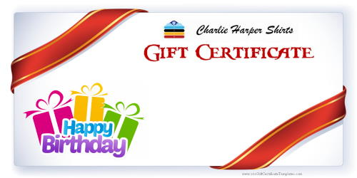 gift certificate for shirts in any amount you need